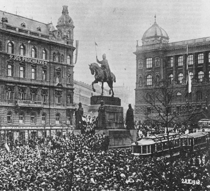 October 28th 1918 in Wenceslas Square, Prague