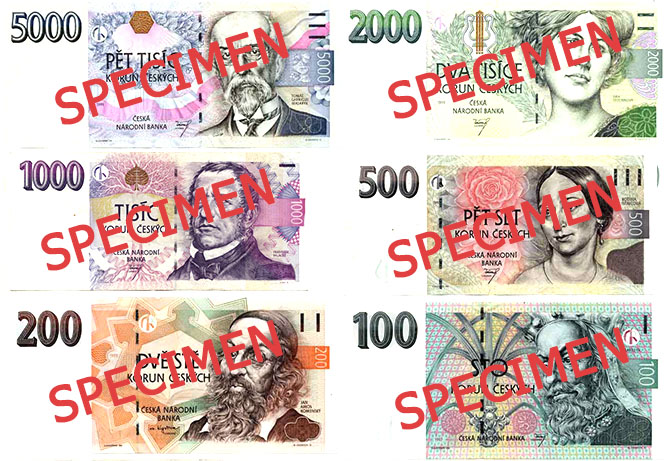 Currently valid Czech banknotes
