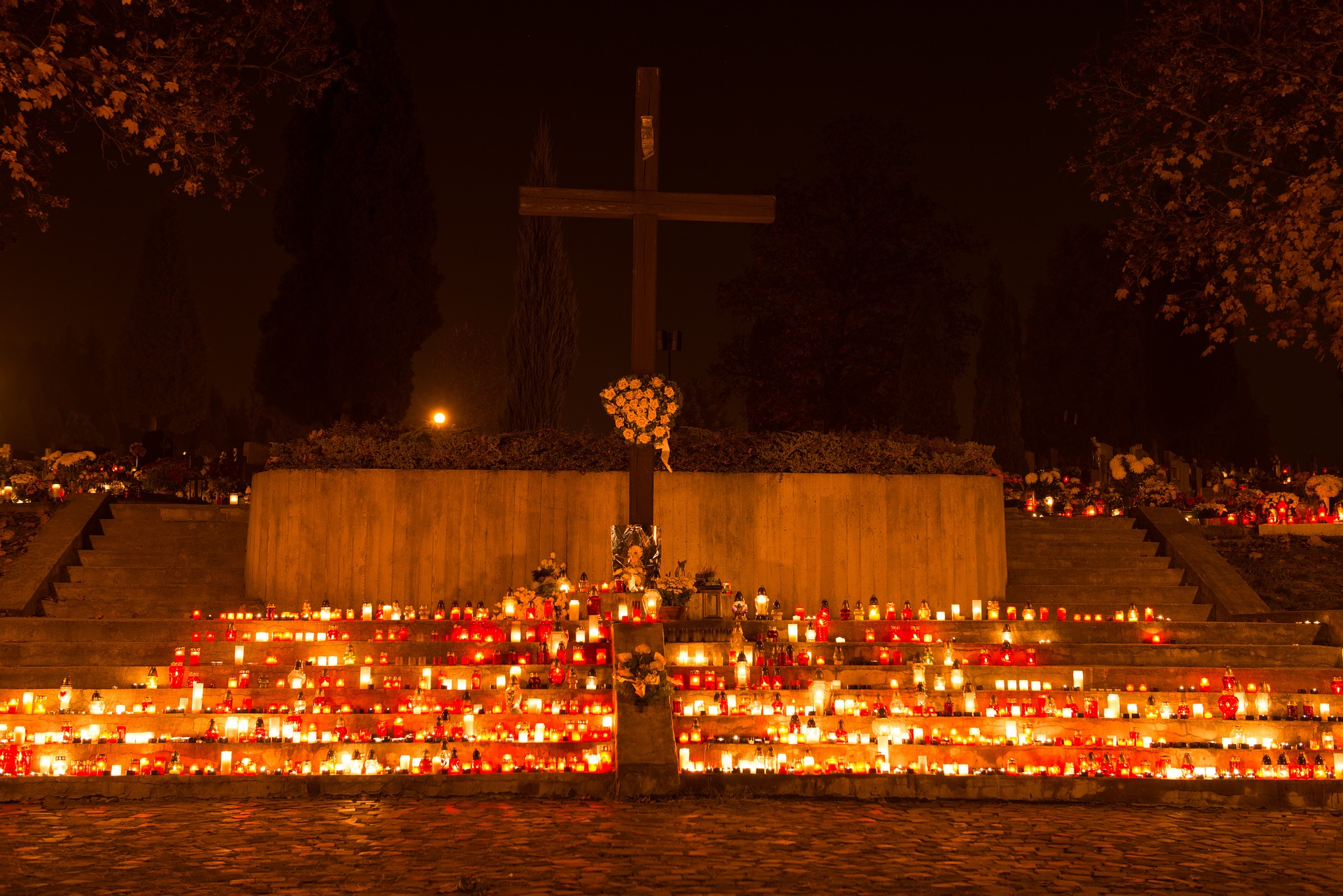 Dušičky candles in a cemetery